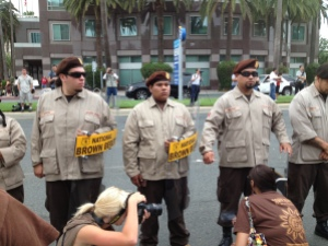 National Brown Berets stand at attention at July 21 anti-police demonstration in front of Anaheim City Hall.