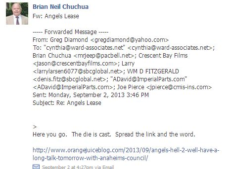 Chuchua posting e-mails on Anaheim Canyon Comm Coaltion FB page