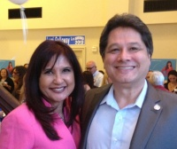 Lorri Galloway (r) and OC Democratic Party Chairman Henry Vandemeir