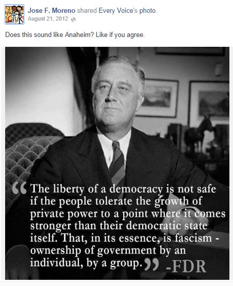 Compares Anaheim to fascist state